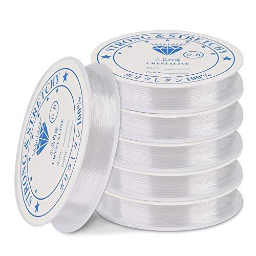 Mitening 0,8 mm Hilo Elástico Transparente - Pulsera Elástica Cuerda de Cuerda Claro Elástico Hilo de Abalorios para Pulseras Collar Abalorios Joyería (Blanco)