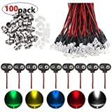 WMYCONGCONG 70 PCS Mixed Color 12V DC 5mm LED Pre Wired 20cm Bulb Lamp w/ 20 PCS 5mm Light Emitting Diode LED Holder w/ 10 PCS 9V Battery Clip Connector