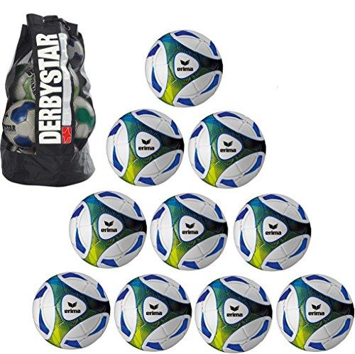 Erima 10x Hybrid Training royal/Lime Größe 5 + 1x Ballsack Ballpaket TOP Preis Teamsport Plum