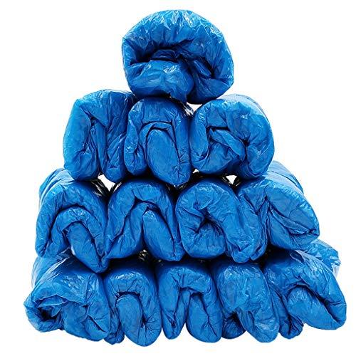 NIUQY Einweg Schuhabdeckung PE-Kunststoff Blau Stiefelabdeckunge Atmungsaktive Staubdichte rutschfeste wasserdichte Überschuhe Regenschuhe Zubehör(100 Pack)