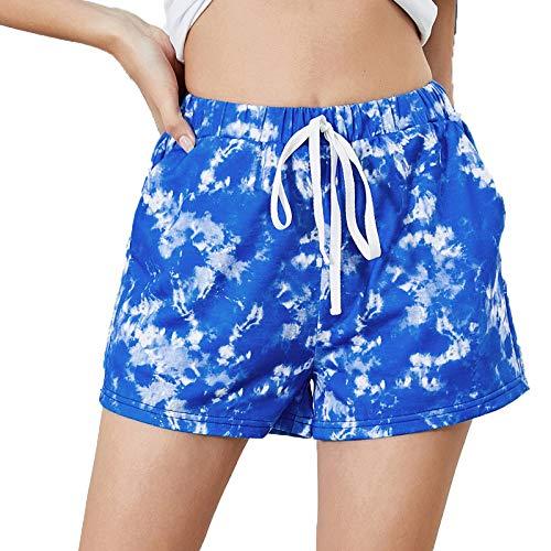 BIBOKAOKE Pantalones cortos de mujer para verano, pantalones cortos para playa, tiempo libre, gimnasio, informales, sueltos, para jogging, yoga, con bolsillos, cordón, bermudas