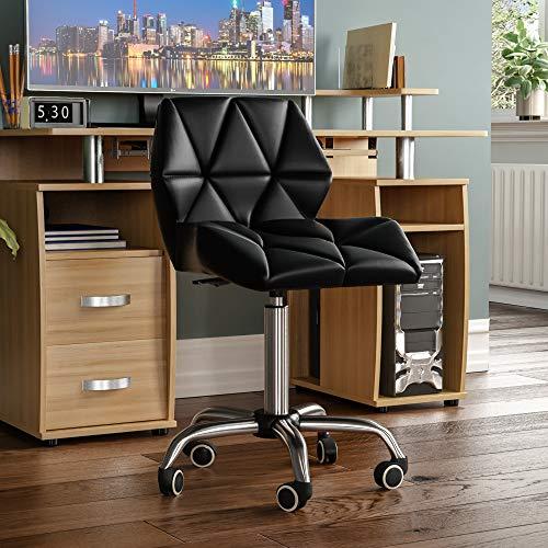 Vida Designs Geo Office Computer Chair, Black, Gaming Secretary Adjustable Swivel Legs Lift Chrome PU Faux-Leather