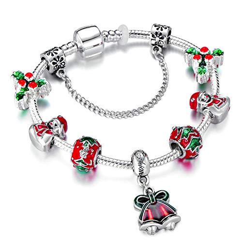 PicZhiwenture Pulseras Santa Claus Charm Bracelet para Mujer Murano Glass Red Crystal Beads Zapatos de Navidad Brand Bracelet Christmas Jewelry Gift Gold color21cm