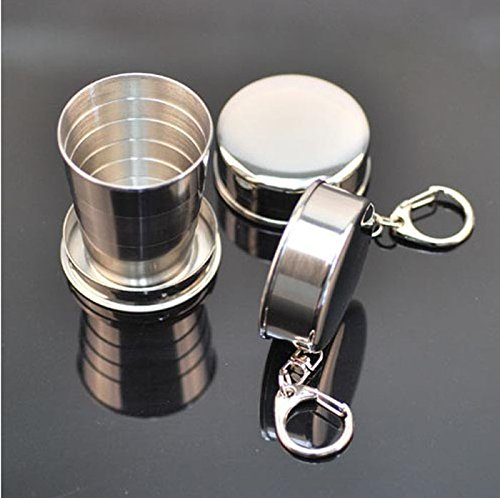 Ounabing Water Bottle and Cups Steel Travel Telescopic Collapsible Shot Glass Emergency Pocket Cup,Best Choice