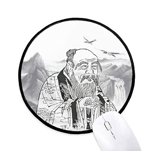 Dao Religion China Inkt Schilderij Ronde Antislip Mousepads Zwart Gestikte Randen Game Kantoor Gift