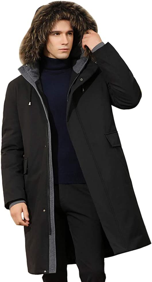 Down jacket Men's Medium Long Jacket, Middle-Aged Hooded Thicken Warm Winter Jacket,with Fur Collar, Padding: 90% White Duck Down (Color: Black, Gray)