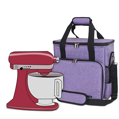 Luxja Portable Storage Bag for KitchenAid Mixers and Extra Accessories (Compatible with 4.5-Quart and All 5-Quart KitchenAid Mixers), NO ACCESSORIES INCLUDED, Purple