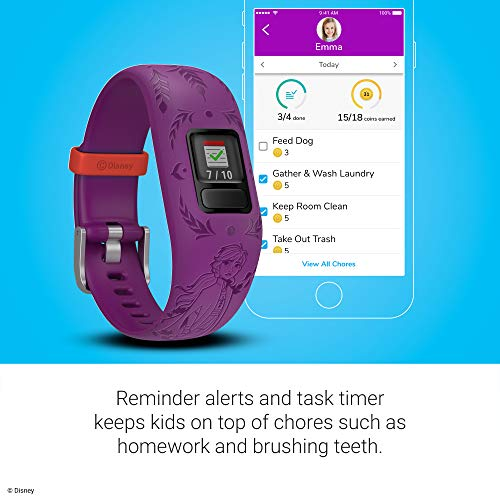 Garmin vívofit Jr 2, Kids Fitness/Activity Tracker, 1-Year Battery Life, Adjustable Band, Disney Frozen 2, Anna, Purple 4