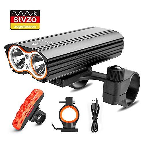LED Fahrradlicht Set, StVZO Zugelassen Fahrradlampe 2400 Lumen IP65 Wasserdich Fahrradbeleuchtung, USB Aufladbare Fahrradlichter Superhelle Frontlicht 360° Rotation, 4400mAh 3 Licht-Modi