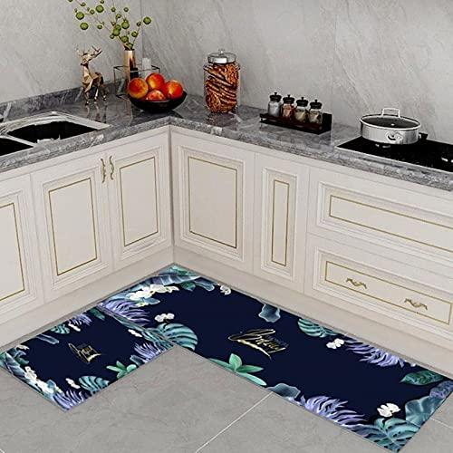Blaue einfache Blatt Muster Küche Teppiche Set 2 Stück Mikrofaser rutschfest Küchenmatten und Teppiche Gummi Unterlage dauerhaft absorbierend waschbare Bodenmatte Fußmatte Maschine waschbar, 40 *
