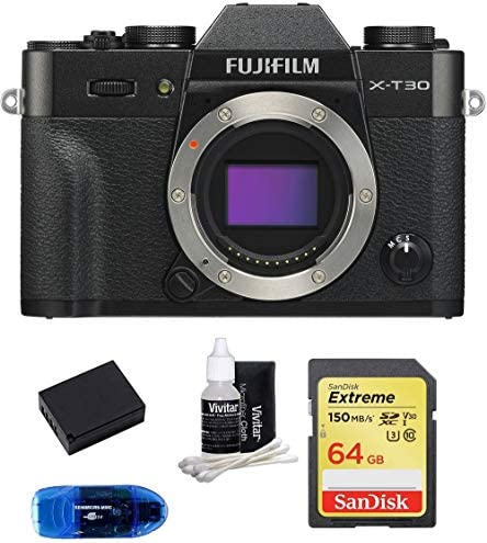 FUJIFILM X-T30 Mirrorless Digital Camera Body (Black) Bundle, Includes: SanDisk 64GB Extreme SDXC Memory Card, Card Reader, Memory Card Wallet and Lens Cleaning Kit (5 Items)
