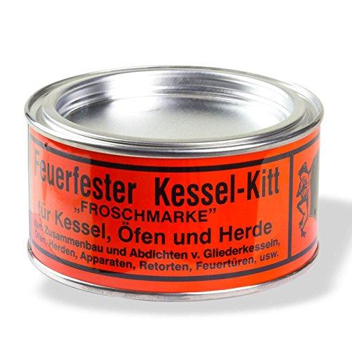 Stabilo-Sanitaer Kesselkitt feuerfest Froschmarke 500g Dose, nicht schwindender feuerfester Dichtungskitt auf Wasserglas-Basis, Kaminkitt rauch- und gasabdichtend