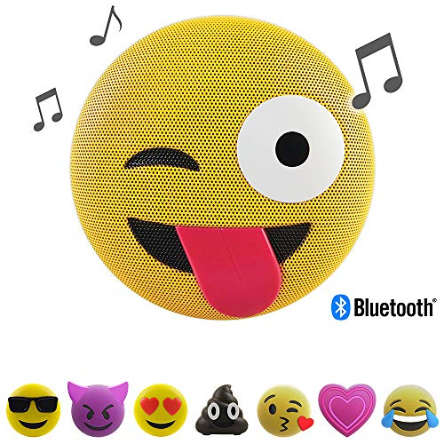 Altavoz Jamoji Bluetooth para niños, Tongue out, Altavoces inalámbricos con micrófono Integrado, Conector AUX, Conector Micro-USB, batería con 6 Horas de Funcionamiento, Emoji, Smiley