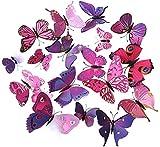 ElecMotive 24 TLG 3D Wandtattoo Wand Aufkleber Schmetterlinge im 3D-Style, 24-Stück, Wanddekoration mit Klebepunkten zur Fixierung (Klebepunkten+ Magnet) 24 Stück (12pc Pink+12pc Lila)