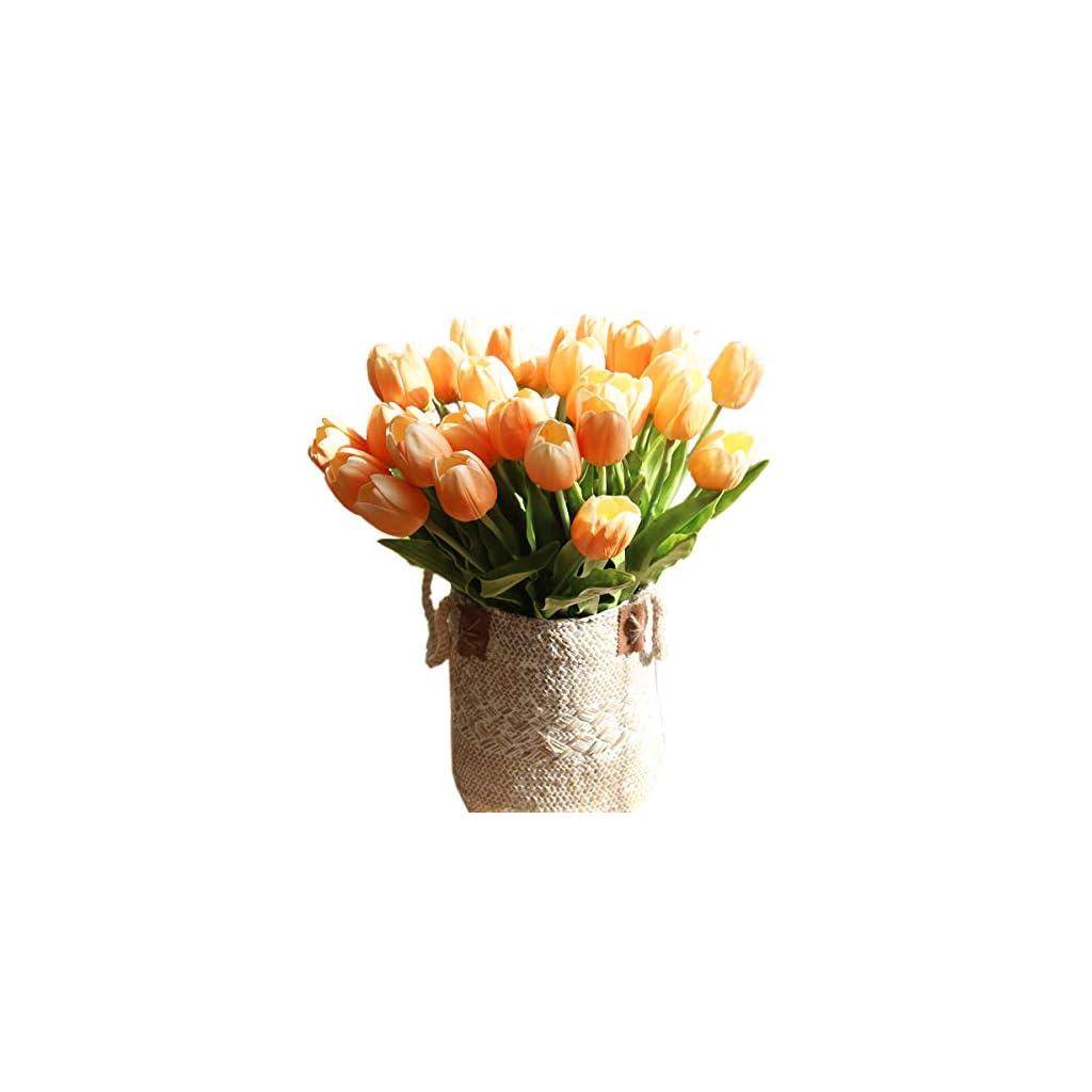 "cn-Knight Artificial Flower 12pcs 20"" Long Stem Tulip Faux PU Flower Big Size Fake Tulipa for Wedding Bridal Bouquet Bridesmaid Home Décor Office Baby Shower Centerpiece Reception"