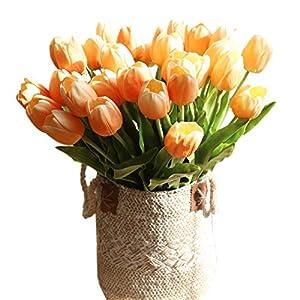 Silk Flower Arrangements cn-Knight Artificial Flower 12pcs 20'' Long Stem Tulip Faux PU Flower Big Size Fake Tulipa for Wedding Bridal Bouquet Bridesmaid Home Décor Office Baby Shower Centerpiece Reception