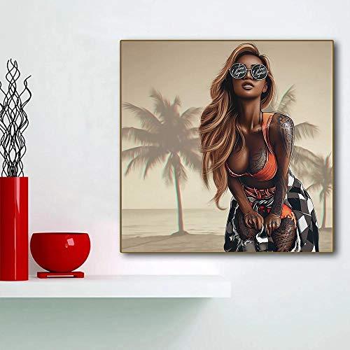 XLXZZ Dibujos Animados Sexy Bad Girl con Gafas de Sol Carteles de Anime Impresión en Tatuaje Cool Girl Lienzos Carteles Arte de Pared Decoración de habitación de niña joven-50x50cmx1 pcs sin Marco