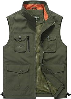 ポケットベスト春と秋のメンズカジュアルベストベストスタンドカラー屋外の中年男性のジャケット写真ディレクターベスト (色 : アーミーグリーン, サイズ さいず : 2XL)
