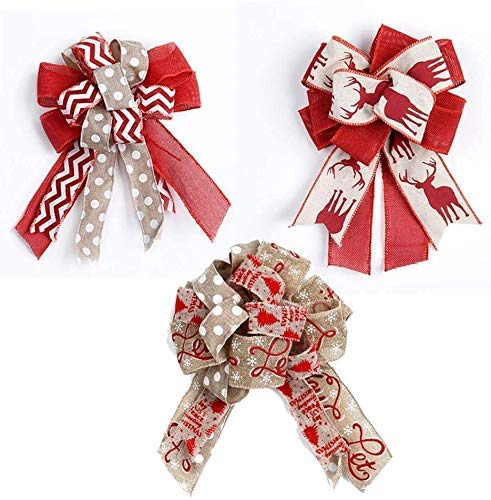 2020 Latest 3Pcs Red Christmas Bows Christmas Wreath Bows with Polka Dot Christmas Tree Elk Printed Xmas Tree Burlap Bows for DIY Wedding Gift Wrapping Party Decorating