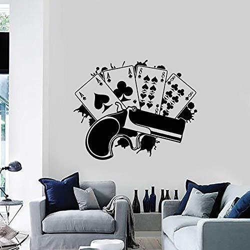 Tianpengyuanshuai Pistole Spielkarte Glücksspiel Vinyl Wandtattoo Home Decoration Wohnzimmer Wandbild 84X49cm