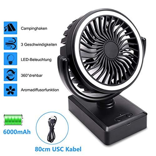 Mini USB Tischventilator, Tymleap Ventilator mit Akku 6000mAh, klein Ventilator mit LED, Fan 3 Stufen tragbare leise Powerbank Lüfter für Haus, Büro oder im Freien, Zeltautos