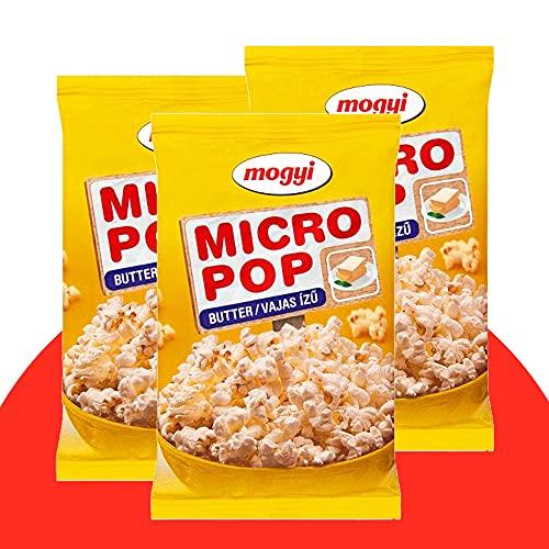 Mogyi Mikrowellen Popcorn Butter geschmack   Popcorn Mais fix und fertig - wie im Kino   Micro Popcorn einfach lecker - Naschen erwünscht   Party Pack 3x100g