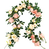 NYRZT Artificial Flowers Vine 2 Pcs 13FT Fake Silk Rose Garland Hanging Plants Ivy for Wedding Arch Wall Party Reception Centerpieces Home Decorations (Pink and Champagne)
