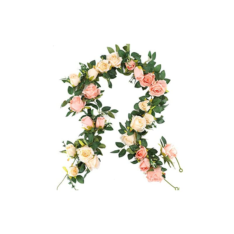 silk flower arrangements nyrzt artificial flowers vine 2 pcs 13ft fake silk rose garland hanging plants ivy for wedding arch wall party reception centerpieces home decorations (pink and champagne)