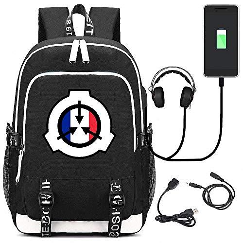 CBA BING Sac à Dos SCP Foundation avec Port de Chargement USB et Port pour écouteurs Bag Sac d'ordinateur Portable Mince et léger, Sac à Dos Scolaire résistant à l'eau pour Femmes Hommes,C