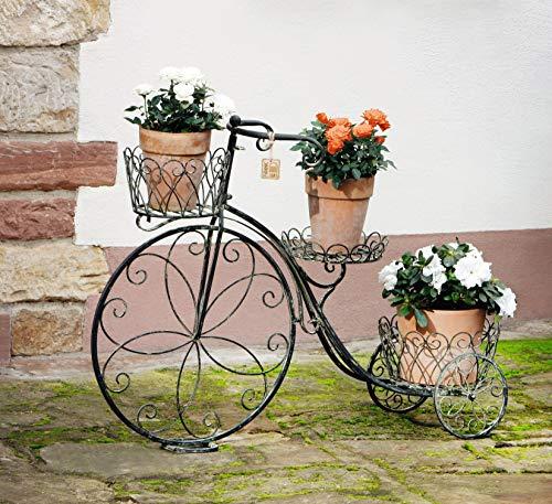 Pflanzen-Dreirad aus Metall im Landhaus Stil, Deko Objekt, Blumentreppe, Pflanzenständer, Gartendeko
