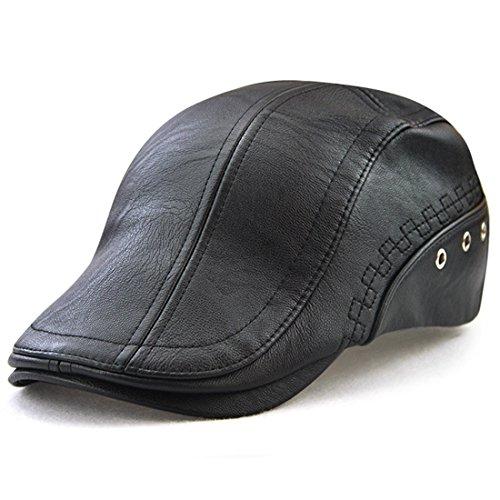Kuyou Herren Gatsby Flatcap PU-Leder Schiebermütze Ivy Schirmmütze Kappe, Classic Schwarz, Einheitsgröße
