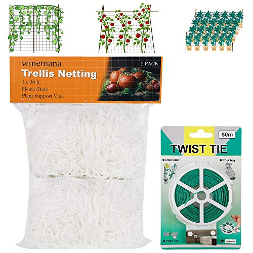 winemana 2 Pack Garden Elastic Trellis Netting 5 X 30 FT HeavyDuty Polyester White with 164 FT Twist Tie 6 in Mesh Size Ensure Health for Climbing Plants Fruits Vegetables