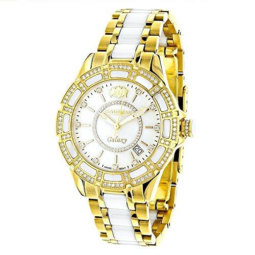 Yellow Gold Plated Steel and White Ceramic Women's Diamond Watch Luxurman Galaxy 1.25ct Swiss Mvt