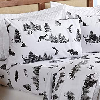 Extra Soft Lodge Printed 100% Turkish Cotton Flannel Sheet Set Warm Cozy Luxury Winter Bed Sheets Lakeview Collection  Queen Woodland Creatures