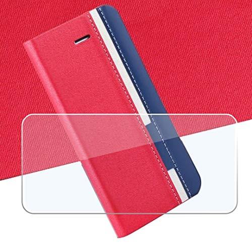 QFSM Rot Schutzhülle + Gehärtetes Glas Panzerglas Folie Für Blackview P6000 Schutz Bookstyle Flip Cover Hülle Wallet Purse Brieftasche with Bildschirmschutzfolie Glass Folie