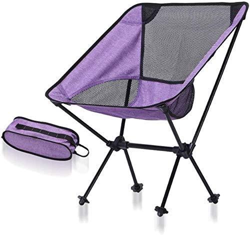 Silla plegable para acampar , silla plegable de aluminio portátil para viajes de camping Pesca Senderismo Relajación Taburete de viaje Mochila (Capacidad de hasta 330 lb) (Color: Púrpura + Negro)