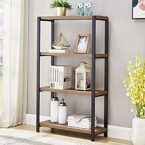 FOLUBAN 4 Tier Industrial Bookshelf, Rustic Vintage Etagere Bookcase for Living Room, Metal and Wood Book Shelf, Easy Assembly, Oak