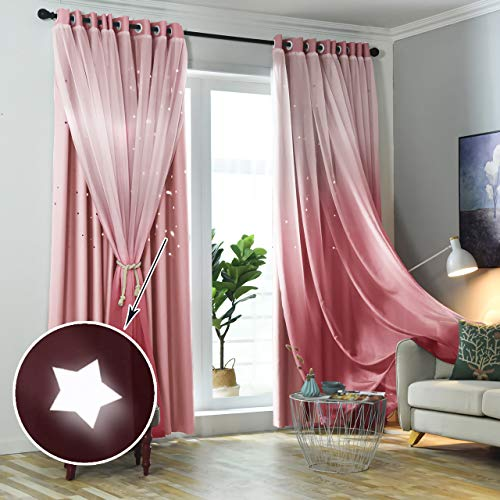 Hughapy Star Curtains Ombre Blackout Curtains for Kids Girls Bedroom Living Room Double Layer Star Cut Out Sparkle Blackout Gradient Window Curtains, 1 Panel -(52W x 63L, Pink)