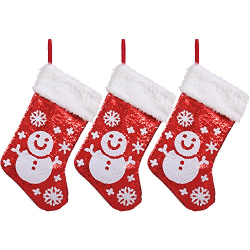 Snowman Design Red and White Reversible Sequins Christmas Stockings