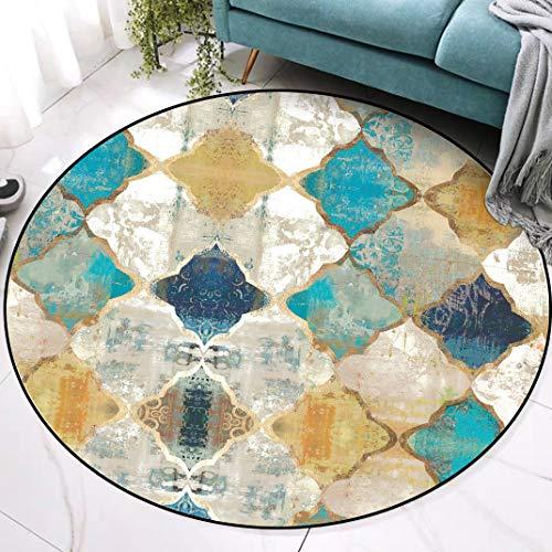 Fancytan Tapis Rond Grande Marocain Vintage de Salon Chambre Design Géométrique Jaune Bleu, 150cm