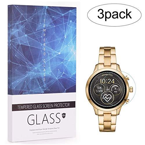 3 paquetes de Michael Kors Access Runway 2018 reloj de cristal templado protector de pantalla cobertura completa BECROWMEU 9H dureza antiarañazos película de alta definición caja regalo transparente
