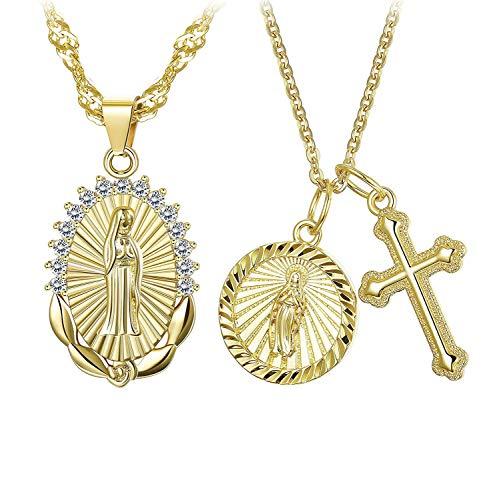 Finrezio 2 Piezas Chapado En Oro Virgen María Collar Cruzado para Mujeres Niñas Cz Vintage Católico Religioso Cristiano Collar