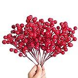 YQing 14 Piezas Tallos de Bayas Rojas Artificiales, 19.8cm Navidad Bayas Artificiales Acebo Navidad Decoracion para Árbol de Navidad Vacaciones y decoración del hogar (Burgundy Berries)