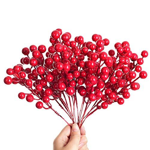 YQing 14 Pezzi Rami Bacche Rosse Natale Decorazioni, Bacche Rosse Ramo Decorative per Albero di Natale per Artigianato, Vacanze e Decorazioni (14 Berries)