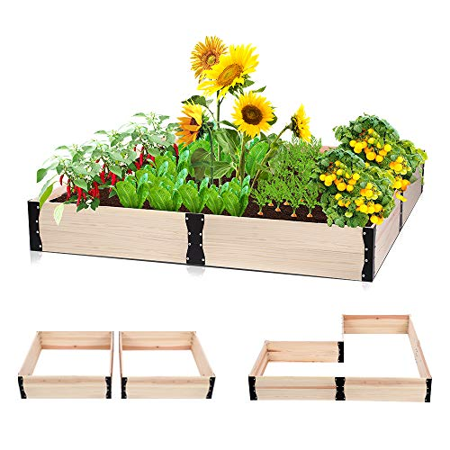 Taleco Gear Wooden Raised Garden Bed, Free Combination Planter Box Kit for Growing Fruit/Vegetable/Herb/Flower-Outdoor 63x63x9.4in