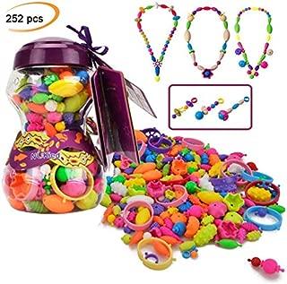 Pop Arty Beads Kid Toy - Hanmun HS6635 con 252 PCS cuentas de moda de bricolaje para collar pulsera Artesanía de motor entrenamiento de habilidad juguete regalo para niños niñas 3+