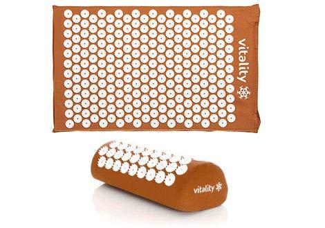 VITALITY Akupressur-Set (orange): Akupressurmatte (68 x 42cm) und Akupressurkissen (37 x 15 x 10cm), Durchblutung Fördern, Rücken Revitalisieren und Nacken Entspannen mit Akupressur Matte und Kissen