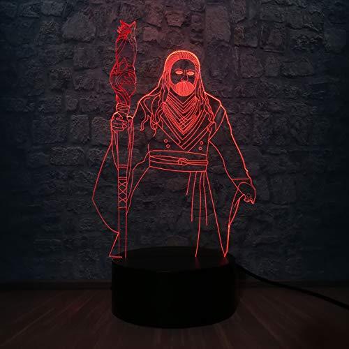 Lámpara 3D World Of Game movie ns Lámpara de mesa LED para decoración de dormitorio con ilusión LED luz nocturna Lámpara de mesa USB multicolor