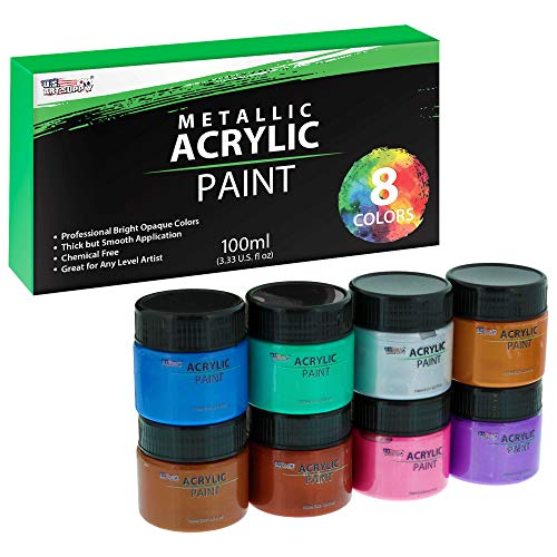 U.S. Art Supply 8 Color Metallic Acrylic Paint Jar Set