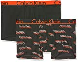 Calvin Klein Trunk 2PK Boxer a Pantaloncino, Nero (VCR Logo Black/Black W/Tango WB Sxl), S Uomo